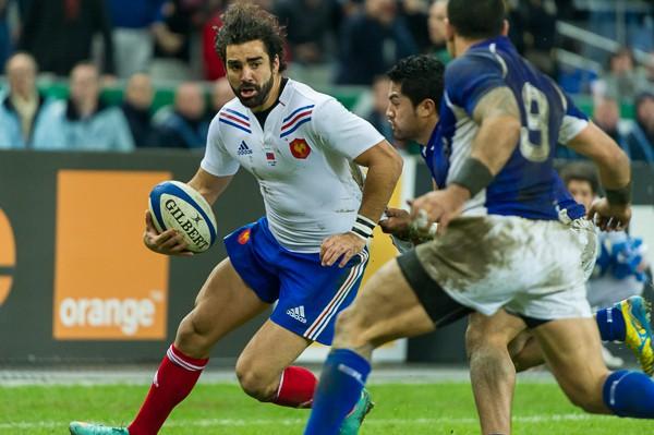 2012-11-24. Saint Denis (France). Rugby test match France (22) vs Samoa (14). Yoann Huget (France). Photo Frédéric Augendre